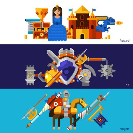 medieval: Conjunto de tres banderas planas horizontales con elementos de recompensa kit armas medievales y caballeros ilustración vectorial