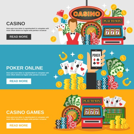 tragamonedas: Casino banners horizontales fijados con símbolos de póquer en línea ilustración del vector aislado plana