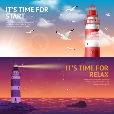during the day: Lighthouse during day and night horizontal banner set isolated vector illustration