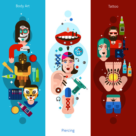 nose ring: Vertical banners drawn in flat style contained bodyart piercing and tattoo icons vector illustration