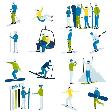 moving down: Ski resort  icons set with  people moving down from mountain on skis and snowboards isolated vector illustration