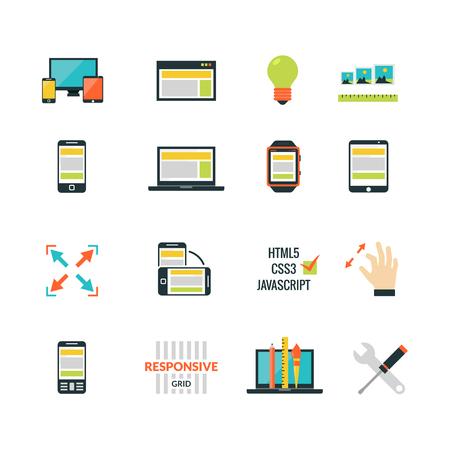 adaptive: Adaptive responsive web design flat icons set isolated vector illustration Illustration