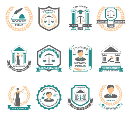 law and order: Lawyer  set with legal services court and justice symbols flat isolated vector illustration