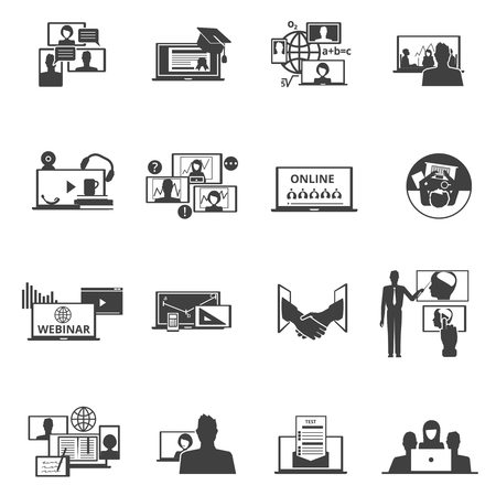 distant: Web collaboration events with distant participants black icons set  with training seminar test abstract isolated vector illustration Illustration
