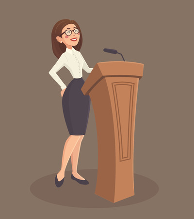 ministry: Speaker woman with stand and microphone on brown background cartoon vector illustration