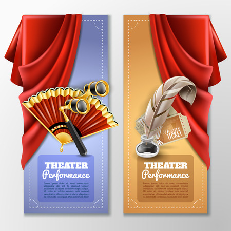 red theater curtain: Theatre and stage vertical banners set with fan and  glass realistic isolated vector illustration Illustration