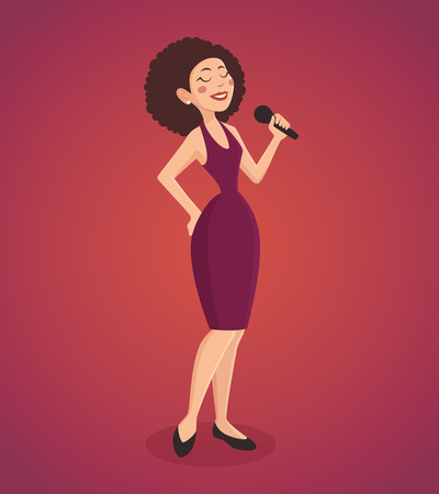 classic authors: Singer woman wearing a dress singing a song with a microphone cartoon vector illustration