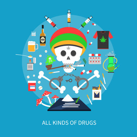 drug dealer: All kinds of drugs concept with skull and bones on blue background flat vector illustration