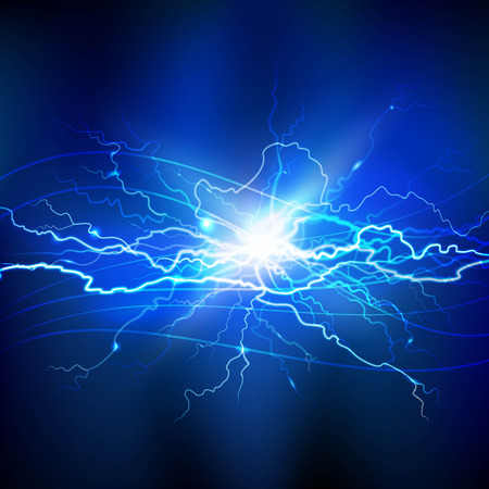 Blue lightning realistic background with a bright bunch of light vector illustration Çizim