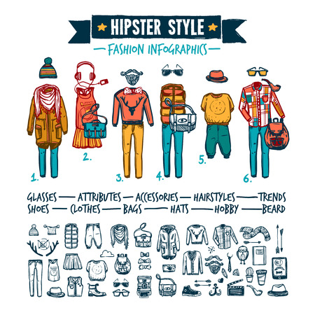 warmer: Hipster outside mainsream lifestyle fashion clothing attributes and accessories infographic elements doodle style banner abstract vector  illustration