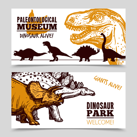 paleontology: Paleontology museum dinosaurs animation exposition for jurrasic park visitors with children banners set abstract isolated vector illustration