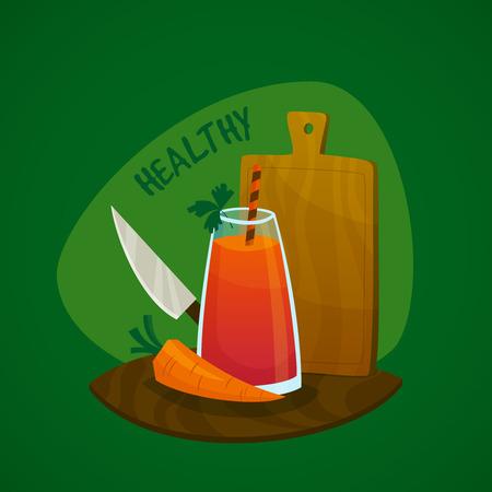 cocina caricatura: Concepto de diseño con un vaso de jugo de zanahoria fresca cuchillo y la ilustración vector de la tarjeta de la cocina Vectores