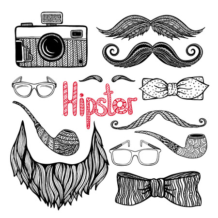 thrift: Hipster hairstyle  beard moustaches and trendy fashion accessories doodle style black icons collection abstract vector isolated illustration Illustration