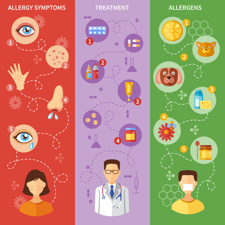redness: Allergy vertical banners with symptoms medical treatment and various allergens isolated vector illustration
