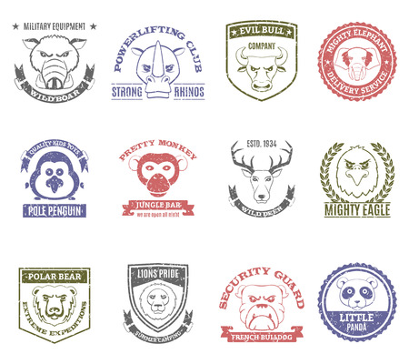 bull dog: Wild animal stamps set with pretty monkey bar and lions pride summer camping symbols flat isolated vector illustration