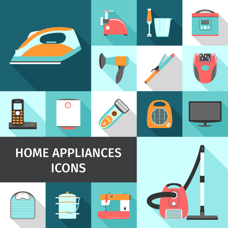 epilator: Household appliances shadow icons set with TV telephone and blender flat isolated vector illustration