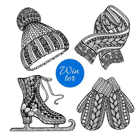 accessory: Winter knitted  fashion accessories pictograms of hat mittens and scarf black doodle style abstract vector isolated illustration Illustration