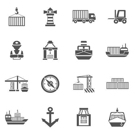 Seaport zwarte pictogrammen die met containers tankers en havenfaciliteiten geïsoleerde vector illustratie