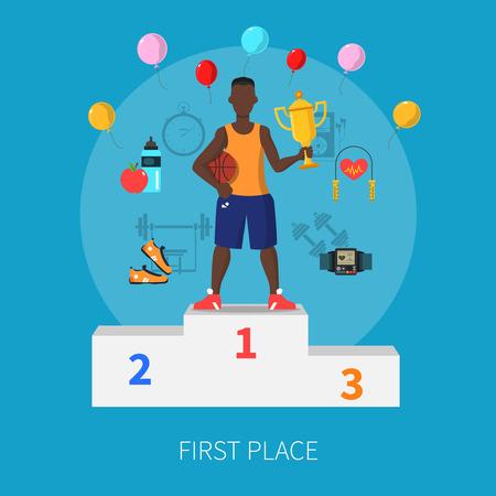 balon de basketball: concepto de deporte ganador del primer lugar con símbolos sobre fondo azul ilustración vectorial plana Vectores