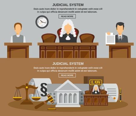 justicia: Ley banner horizontal establece con la ilustración vectorial elementos del sistema judical aislado Vectores