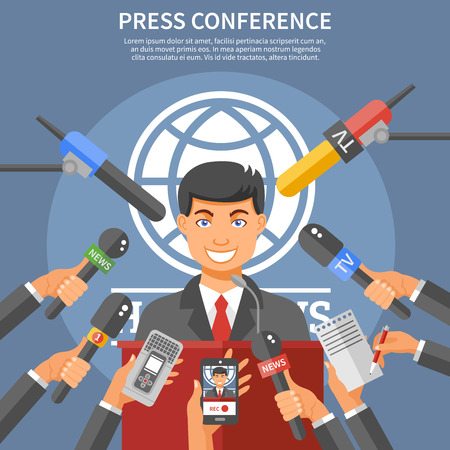 platform: Press conference concept with speaker microphones and dictaphones flat vector illustration