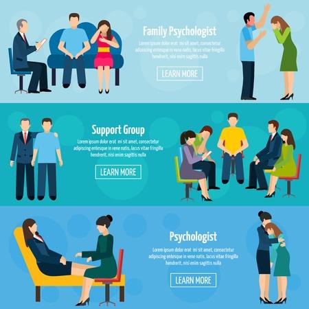 Family psychiatry poradnictwo i grupa wsparcia 3 płaskie poziome transparenty zdrowia psychicznego ustawić streszczenie wyizolowanych ilustracji wektorowych