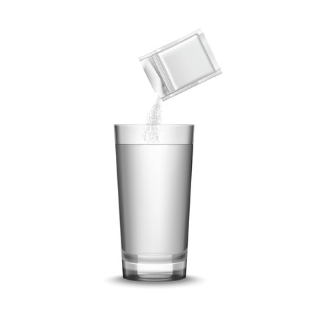 Blank white medicine packaging and glass of water realistic vector illustration Illustration