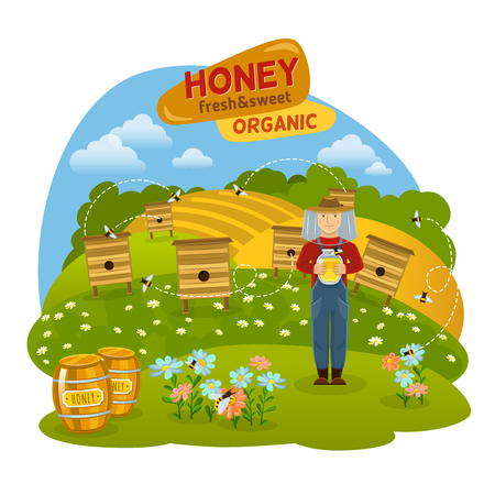 hives: Sweet organic honey concept with hives bees and fields flat vector illustration