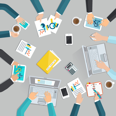 document management: concepto plana reunión de trabajo con los principales hombres de negocios con las manos vista de aparatos y documentos de oficina ilustración vectorial
