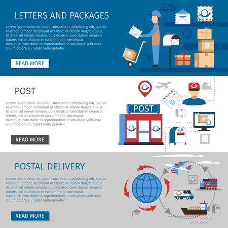 post stamp: Post horizontal banners set with letters and packages delivery symbols flat isolated vector illustration