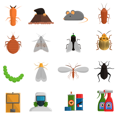 harmful: Pest and and harmful insects flat icons set isolated vector illustration