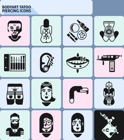 Bodyart tatoo and piercing icons black monochrome set isolated vector illustration
