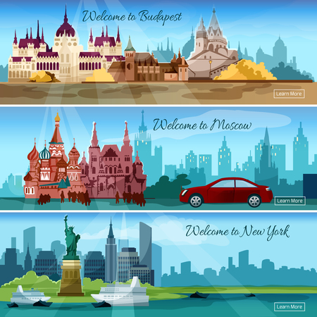 new world: Famous cities horizontal banners set with budapest and moscow tourist buildings isolated vector illustration Illustration