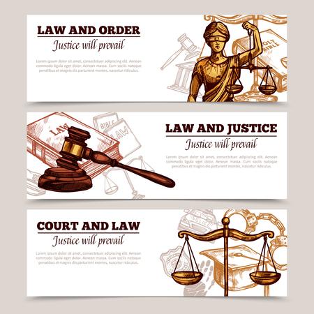 justicia: Banderas horizontales sobre el tema del estado de derecho con la figura de Themis escalas e ilustración del vector de martillo