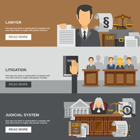 justicia: Ley banner horizontal conjunto con elementos planos abogado aislado ilustración del vector