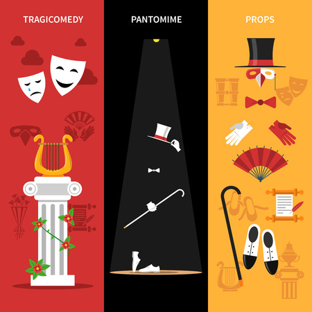pantomime: Theatre performance vertical banners set with tragicomedy pantomime and props symbols flat isolated vector illustration