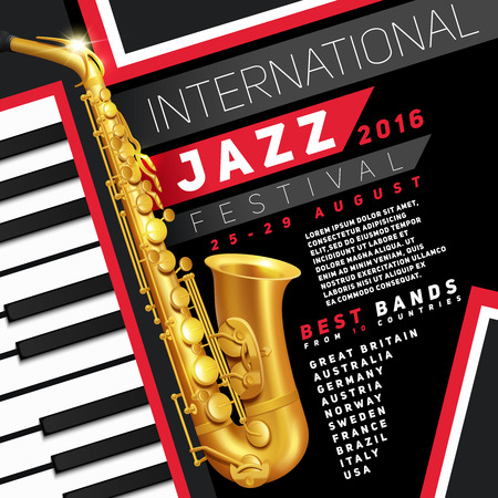 Poster for jazz festival with golden saxophone and piano keys vector Illustration Vectores