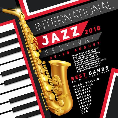 saxof�n: Cartel para el festival de jazz con el saxof�n y teclas de piano de oro vector Ilustraci�n Vectores