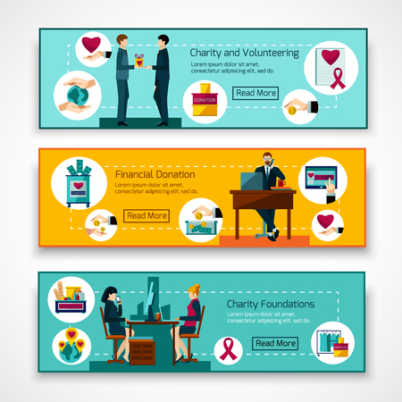 Charity foundations for food clothes and money volunteer donations 3 flat banners set abstract isolated vector illustration