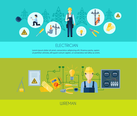 wireman: Two flat style horizontal banners presenting electrician and wireman with titles under images vector illustration