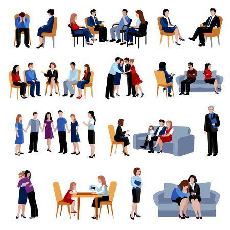 terapia grupal: Los problemas familiares y de relación de asesoramiento y terapia con grupo de apoyo colección iconos planos abstracto aislado ilustración vectorial