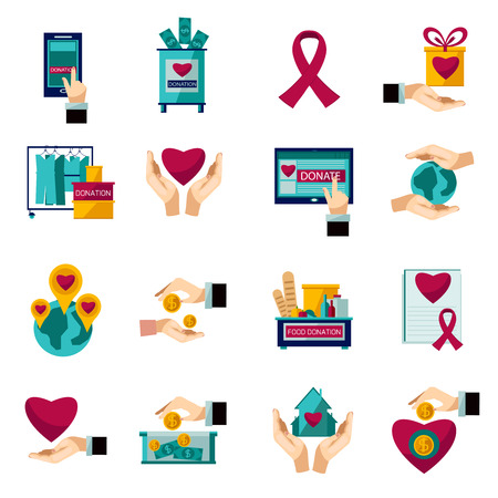 Internationale liefdadigheidsorganisatie hart symbool vlakke pictogrammen set van voedsel en kleding donatie abstract geïsoleerde vector illustratie Stock Illustratie