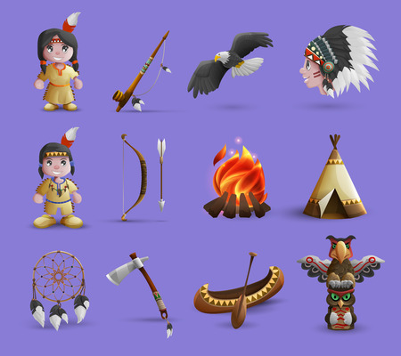 indian weapons: Native american cartoon  icons set with figurines in national dress and hunting equipment isolated  vector illustration