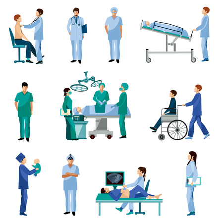 operation: Medical professionals at work in operation room flat icons set with obstetrician surgeon abstract isolated vector illustration