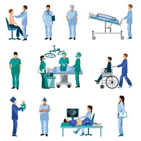 Medische professionals aan het werk in operatiekamer vlakke pictogrammen set met verloskundige chirurg abstract geïsoleerde vector illustratie