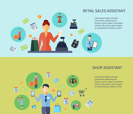 retail sales: Set of two flat horizontal banners with text presenting retail sales assistant and shop assistant vector illustration