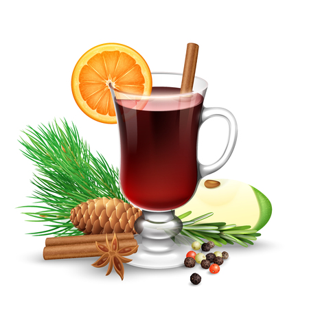 Red mulled wine for winter and Christmas with orange slice cinnamon sticks anise and pine branch vector illustration