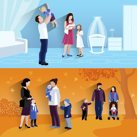 parenting: Parenting 2 flat banners square composition outdoors walking children and happy family home abstract isolated vector illustration