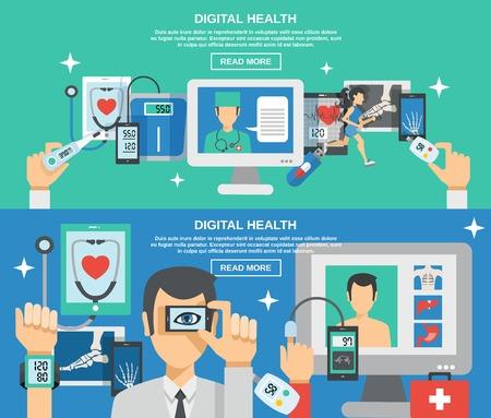 medicamento: banner horizontal de la salud digital configurado con la ilustración vectorial elementos de la medicina móvil aislado
