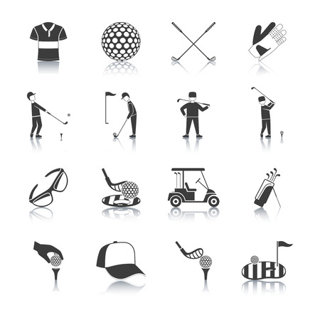 golf bag: Golf black white icons set with player and sports equipment symbols flat isolated vector illustration